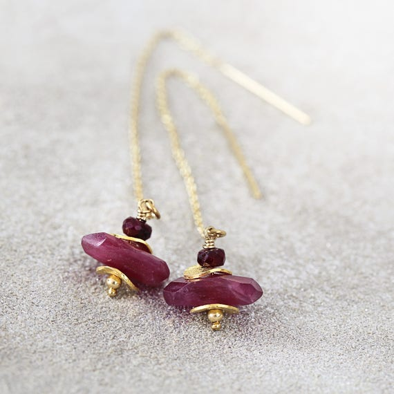 Ruby Threader Earrings - Long Ruby Earrings