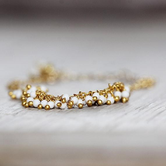 White Pearl Bracelet - Gold & White Bracelet