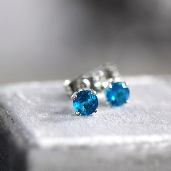 Neon Blue Apatite Stud Earrings - Apatite Ear Studs