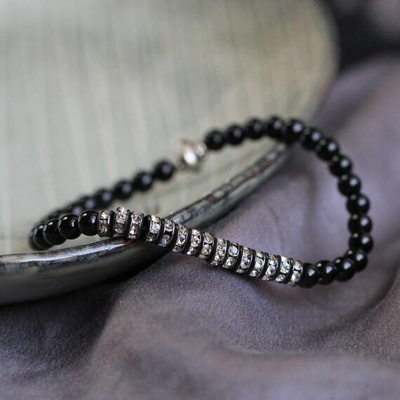 Black Onyx Bracelet - Rhinestone Bracelet - LAST ONE