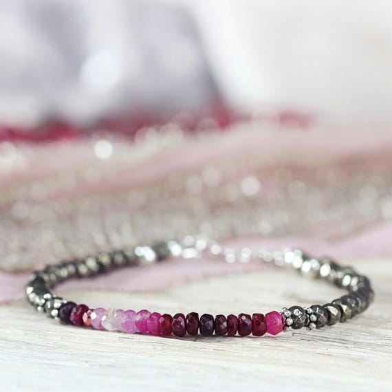 Ombre Ruby Bracelet - July Birthstone Gift For Her