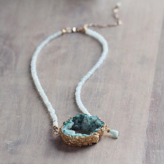 Green Druzy Necklace - Green Statement Necklace