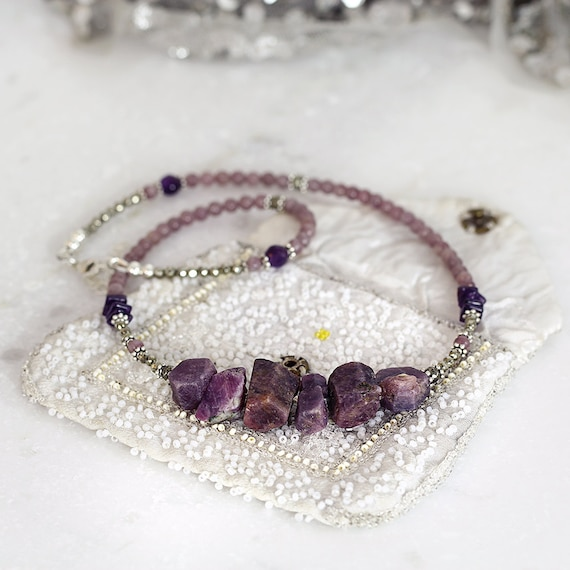 Raw Sapphire Necklace - Purple Statement Necklace