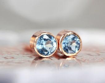 Blue Topaz Studs - Rose Gold Stud Earrings - Swiss Blue Topaz Earrings - Blue Gemstone Studs - 3mm Stud Earrings, Tiny Earrings for Women
