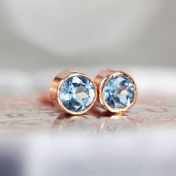 Blue Topaz Studs - Rose Gold Stud Earrings - Swiss Blue Topaz Earrings