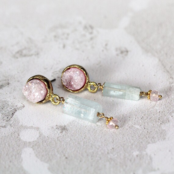 Alternative Wedding Earrings - Aquamarine & Rose Quartz Earrings