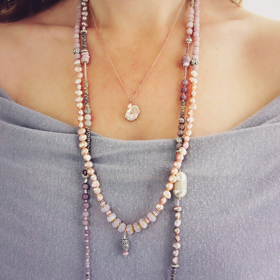 Pink Pearl Necklace - Pearl Wedding Necklace - Pearl Jewelry - Rose Gold Necklace - Pearl Bridal Jewelry - Keishi Pearl Necklace