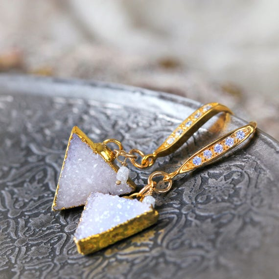 White Druzy & Rough Diamond Earrings - Geometric Triangle Earrings