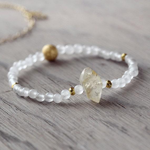 White Jade Bracelet - Citrine Bracelet
