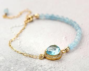 Blue Topaz Bracelet - Dainty Bracelet for Her - Topaz and Aquamarine Bracelet - Blue Topaz Jewelry - November / December / March Birthstone