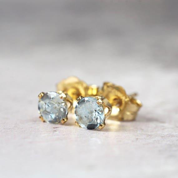 Blue Aquamarine Earrings - March Birthstone Gift