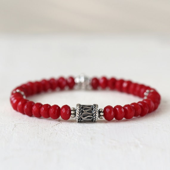 Red Coral Bracelet - Gemstone Stretch Bracelet