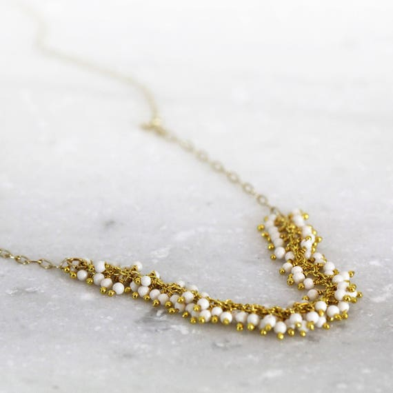 White Wedding Necklace - Gemstone Bridal Necklace