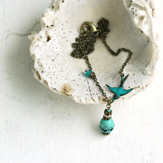 Bird Necklace - December Birthstone Gift For Her