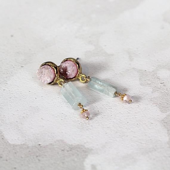 Raw Aquamarine Earrings - Rose Quartz Earrings