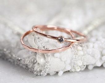 Rose Gold Diamond Ring Set - Salt and Pepper Diamond Ring - Diamond Solitaire Ring - Dainty Stackable Diamond Rings - Rose Gold Ring Stone