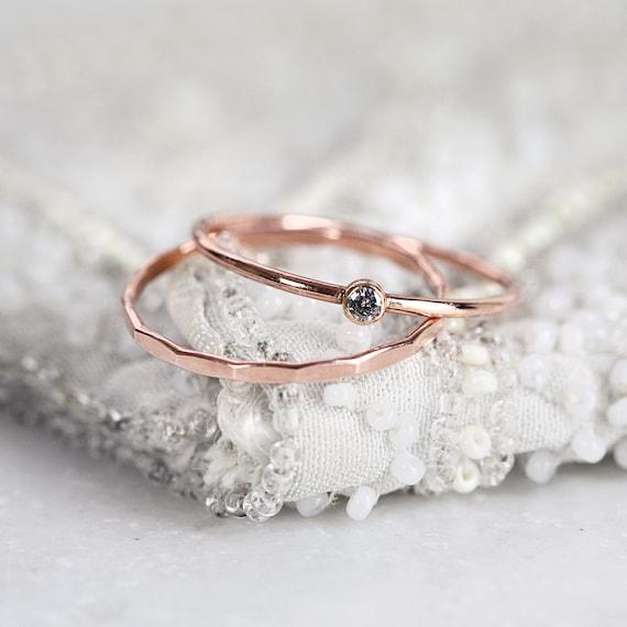 Rose Gold Diamond Ring Set - Salt and Pepper Diamond Ring - Diamond Solitaire Ring