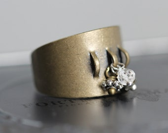 Contemporary Metal And Gemstone Cluster Ring - Adjustable Ring with Quartz, Pyrite and Pewter