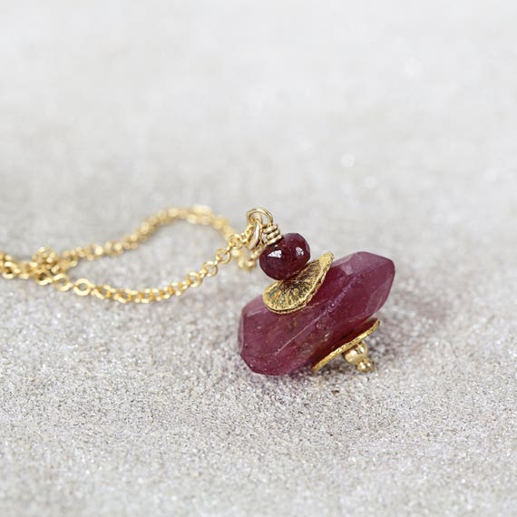 Ruby Pendant Necklace - Ruby Anniversary Gift