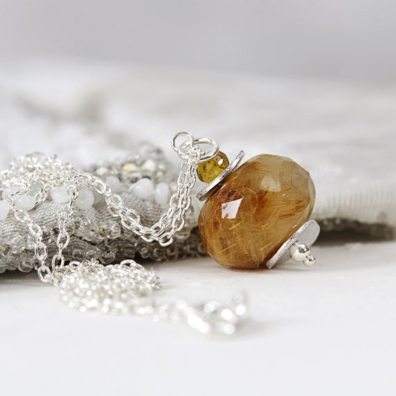 Rutilated Quartz Necklace - Golden Rutilated Pendant Necklace