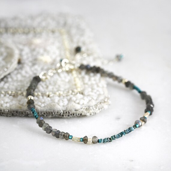 Rough Blue Diamond Bracelet - Skinny Diamond Bracelet