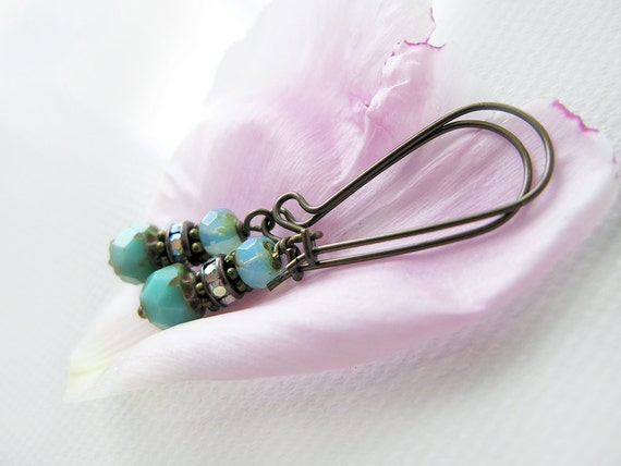 Czech Glass Earrings - Beaded Earrings - Dainty Drop Earrings - Aqua Dangle Earrings