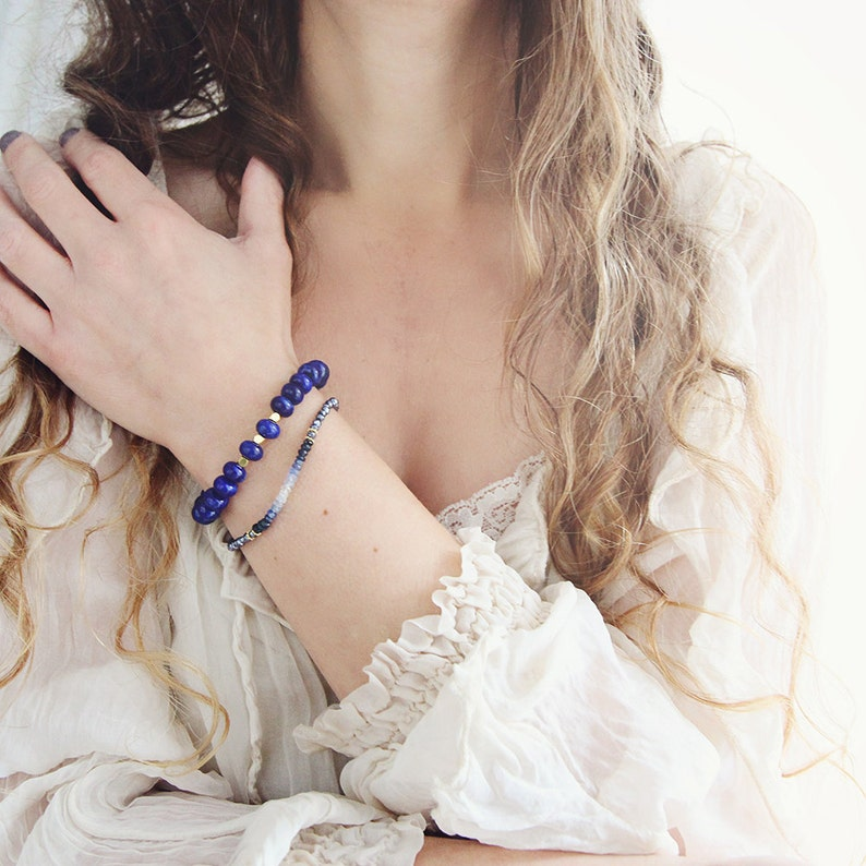 September Birthstone Bracelet Blue Sapphire Bracelet Birthstone Jewelry For Her Ombre Bracelet For Girlfriend