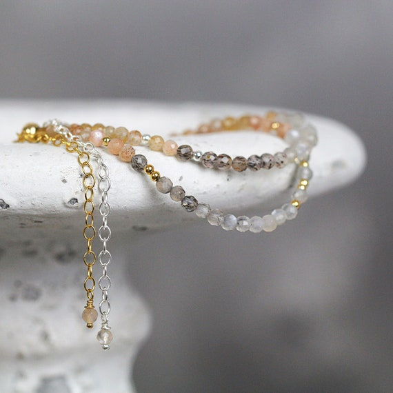 Multicolor Moonstone Bracelet - Gemstone Stackable Bracele
