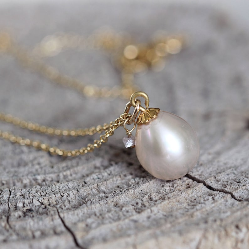 June  April Birthstone Necklace Ivory Pearl Necklace Pearl Jewelry for Women Rough Diamond Necklace Pearl Teardrop Necklace