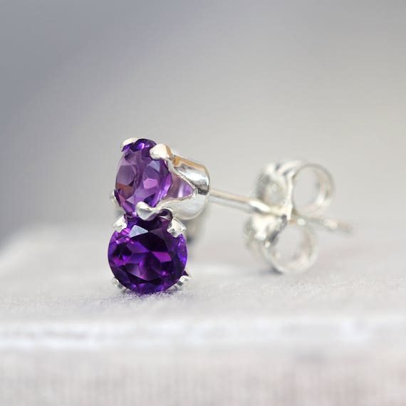 Amethyst Ear Studs - Gold Amethyst Earrings