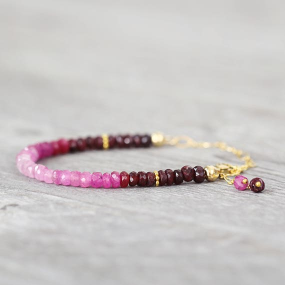 Gold Ruby Bracelet - Real Ruby Jewelry