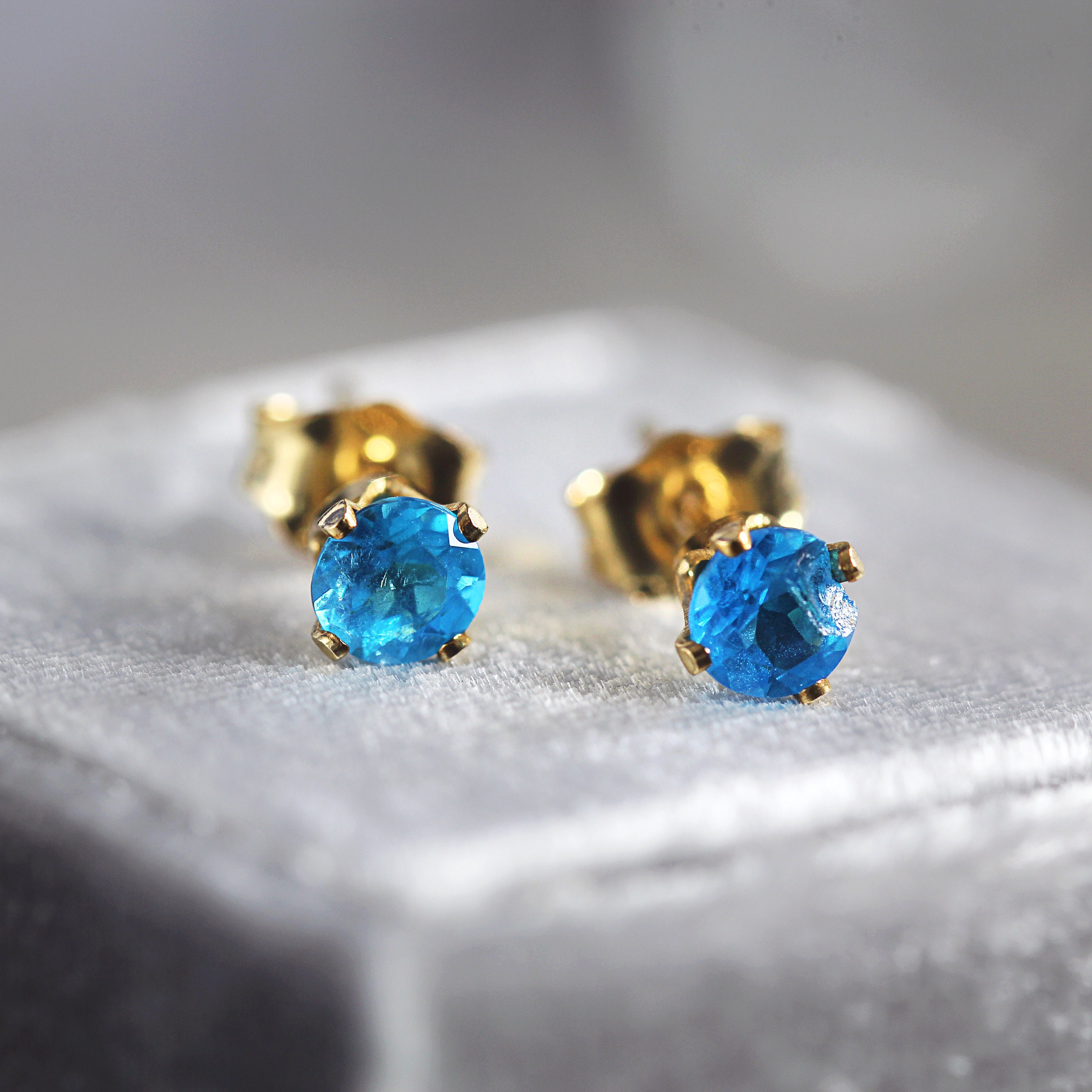 46e4c3870 Neon Blue Apatite Earrings - Apatite Stud Earrings