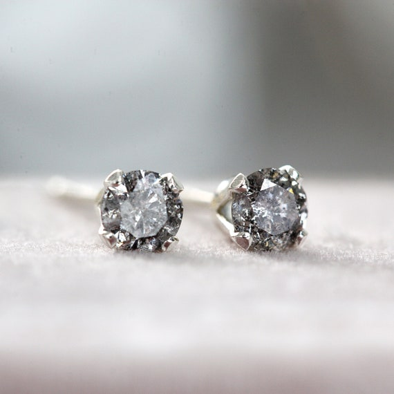 Salt and Pepper Diamond Stud Earrings - Real Diamond Studs in Silver or Gold
