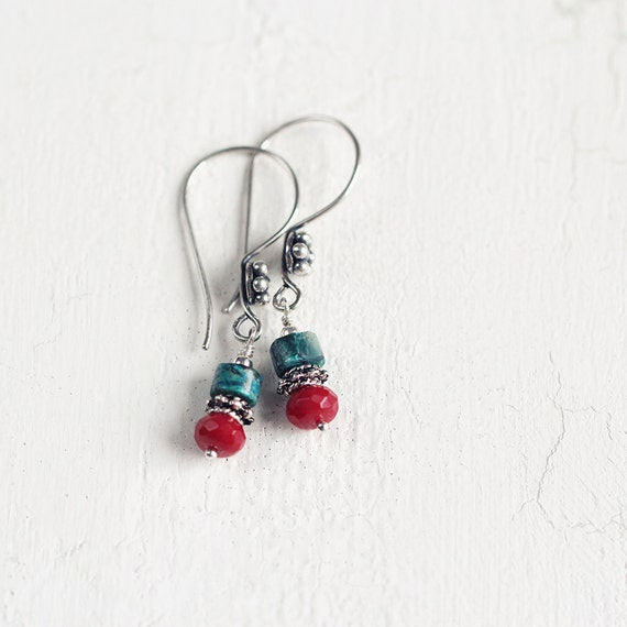 Red Coral Earrings - Chrysocolla Earrings
