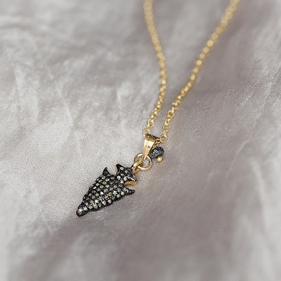 Pave Diamond Pendant - Diamond Arrowhead Necklace