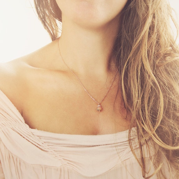 Dainty Rose Gold Necklace - Necklace and Earring Set