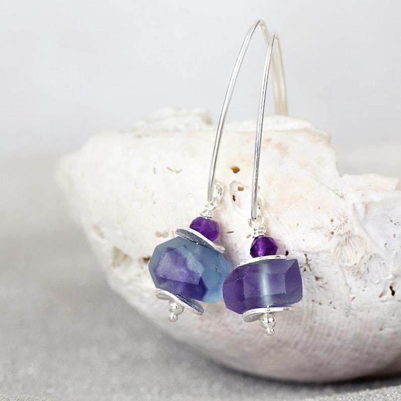 Fluorite Earrings Raw Fluorite Earrings Raw Stone Earrings Silver Stone Earrings Fluorite Jewelry Purple Blue Fluorite Earrings