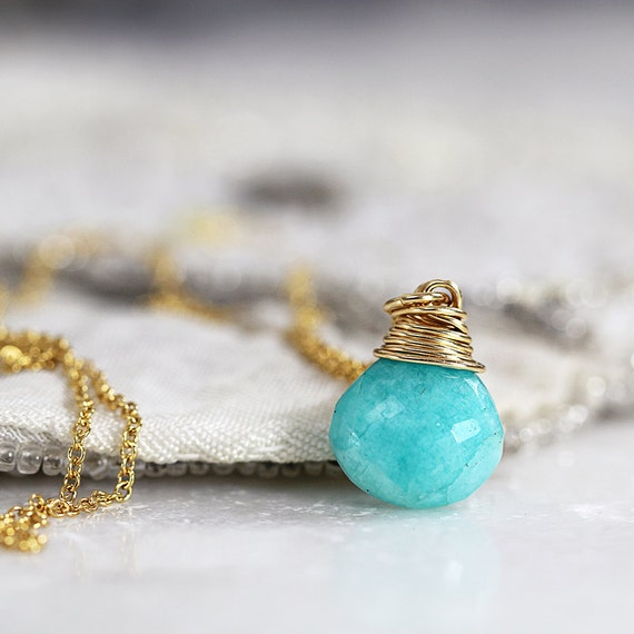 Amazonite Necklace - Green Teardrop Necklace - LAST ONE