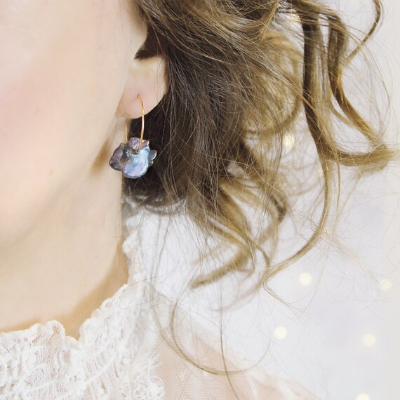 Blue Pearl Earrings - Silver Hoop Earrings