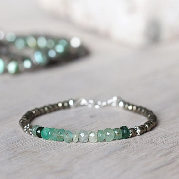 Green Emerald Bracelet - May Birthstone Bracelet