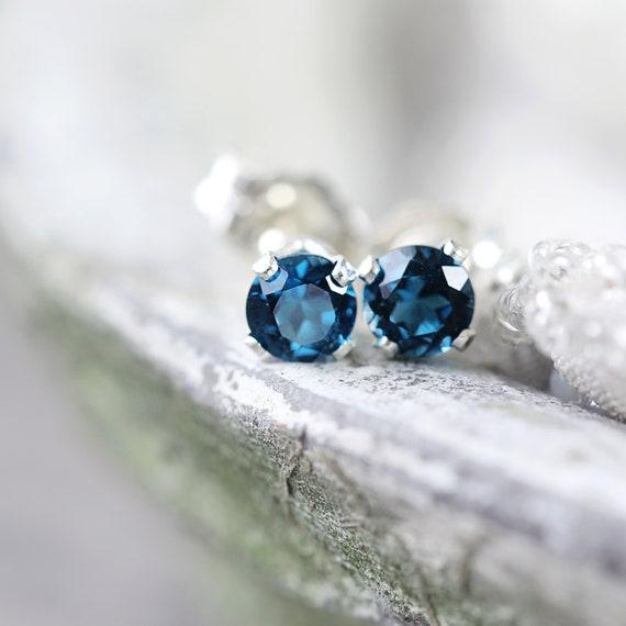 NEW London Blue Topaz 4mm Studs ~ London Blue Topaz Earrings ~ London Blue Topaz Posts ~ November Birthstone Earrings