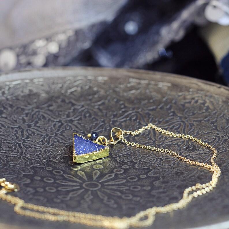 Triangle Pendant Blue Geometric Necklace Druzy Triangle Necklace September Birthstone Blue Sapphire Necklace Modern Jewelry