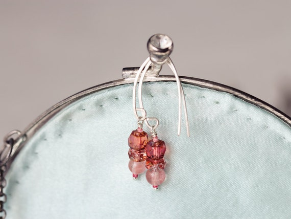 Pink Quartz Earrings - Drop Earrings - Dainty Summer Earrings - Peach Earrings - Earrings for Women