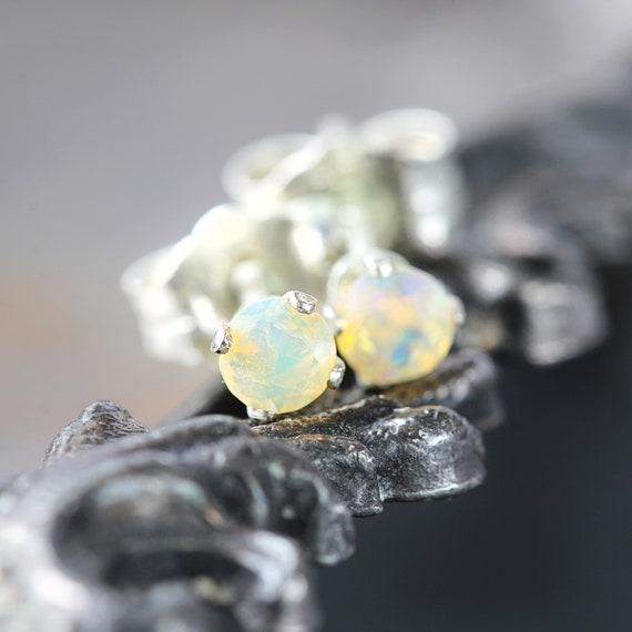 Welo Opal Stud Earrings - Silver Opal Earrings