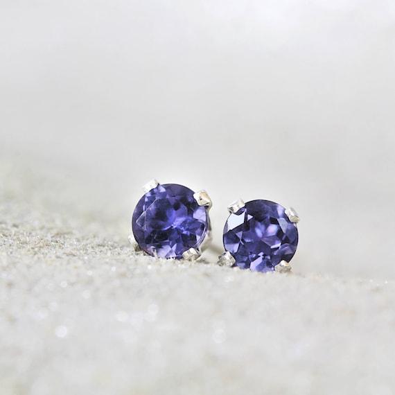Iolite Earrings - Blue Gemstone Studs