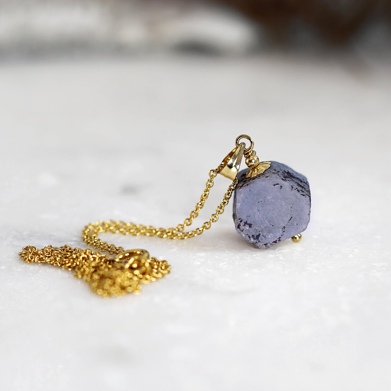 Tiny Raw Sapphire Necklace - Rough Blue Sapphire Pendant ...Unpolished Sapphire Necklace