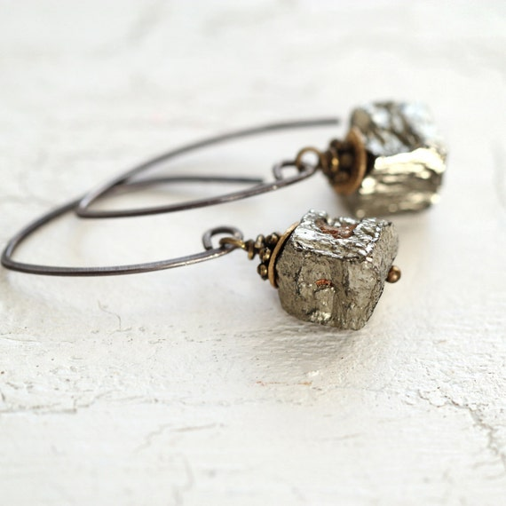 Raw Pyrite Earrings - Modern Mixed Metal Earrings