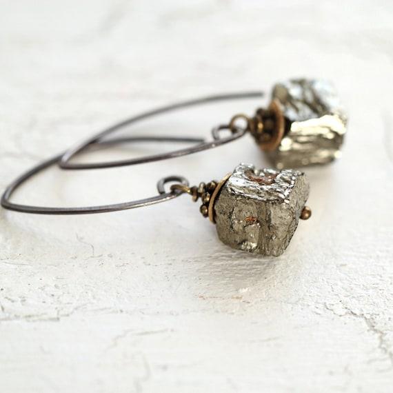 Raw Pyrite Earrings - Modern Mixed Metal Earrings