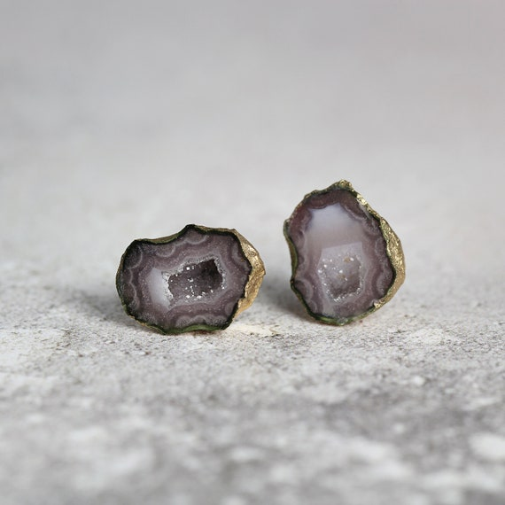 Raw Geode Stud Earrings - Unique Gemstone Studs