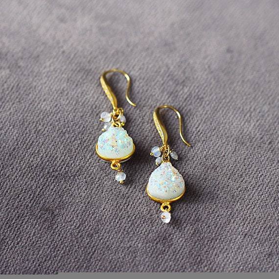 Druzy Statement Earrings - Druzy, Diamond and Moonstone Earrings